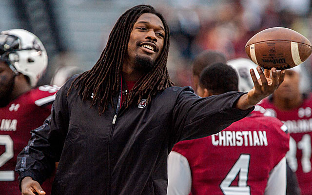 Jadeveon Clowney didn't disappoint at his weigh-in at the NFL combine. (USATSI)