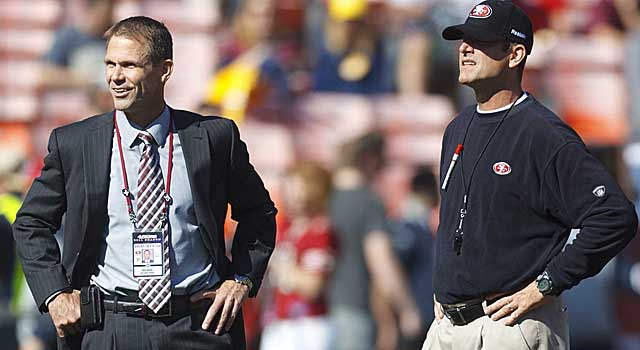 Can GM Trent Baalke and coach Jim Harbaugh get along? The 49ers need to figure that out. (USATSI)