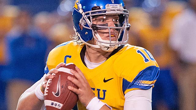 San Jose State QB David Fales could prove to be a spectacular Day 3 bargain.  (USATSI)