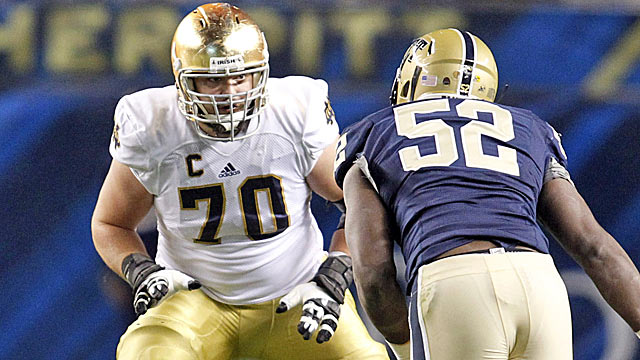 Zack Martin could join three others in an early draft run on offensive tackles.  (USATSI)