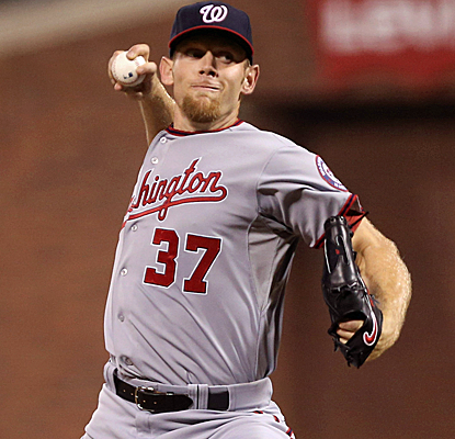 Stephen Strasburg retires his final 10 batters, going six innings for his third straight victory.  (Getty Images)