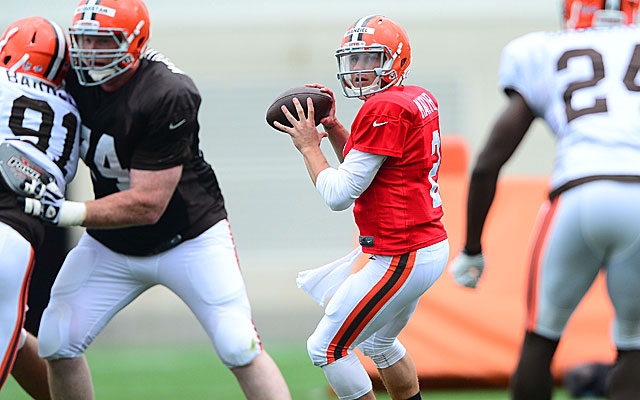Johnny Manziel goes through the paces at Browns camp.  (USATSI)