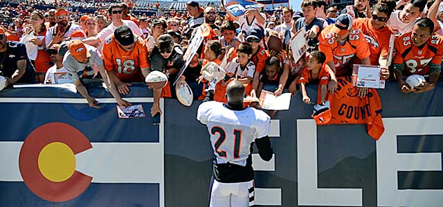 It appears Aqib Talib already is catching on with the Denver faithful. (Getty Images)