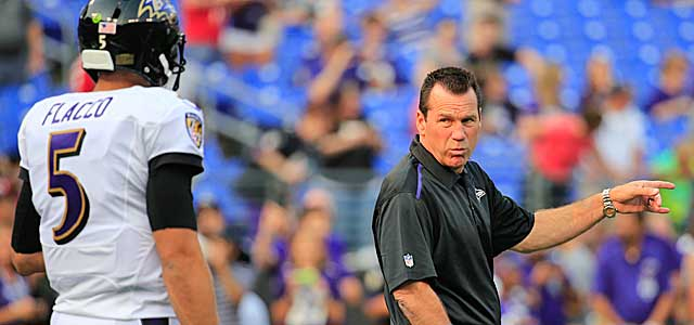 Gary Kubiak has the keys to the Ravens' offense, with Joe Flacco at the controls on the field. (Getty Images)