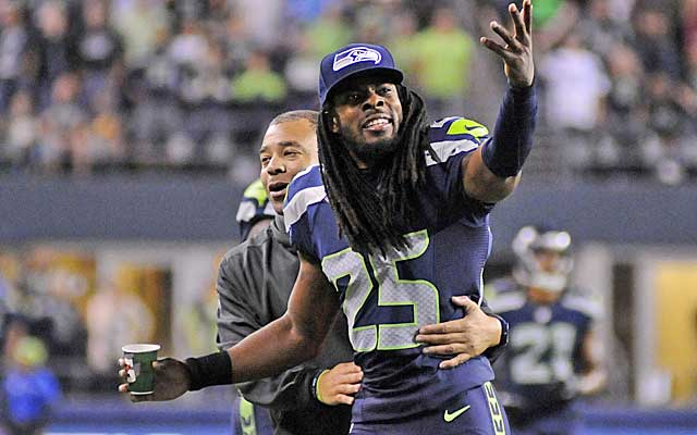 Richard Sherman reacts to a penalty on the Seahawks in the preseason.(USATSI)