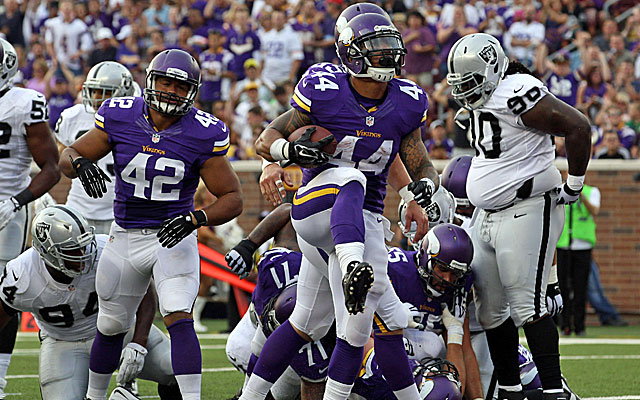 Matt Asiata figures to see an increased workload with Adrian Peterson gone. (USATSI)