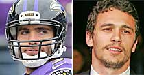 Joe Flacco, James Franco (USATSI, screen)