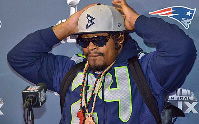 6f566791fff Marshawn Lynch wears a BeastMode hat at his last NFL-mandated media  session. (