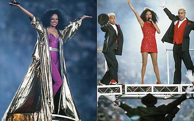 Diana Ross setting a Guiness record for world's largest golden Mumu.  (USATSI)