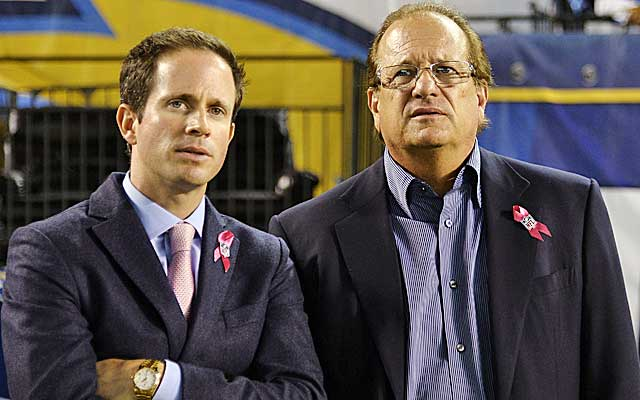 Chargers owner Dean Spanos (right) has plenty of cachet among the NFL's power brokers.  (USATSI)