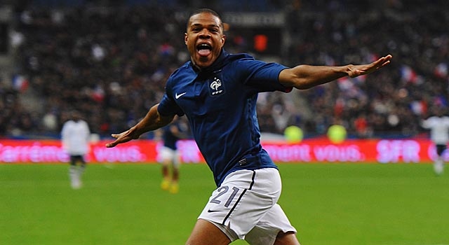 France's Loic Remy celebrates after scoring the only goal of the friendly with the USA. (Getty Images)