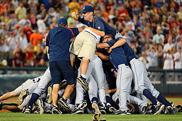 The Wildcats celebrate after breaking the SEC's three-year stranglehold on the CWS title. (Getty Images)