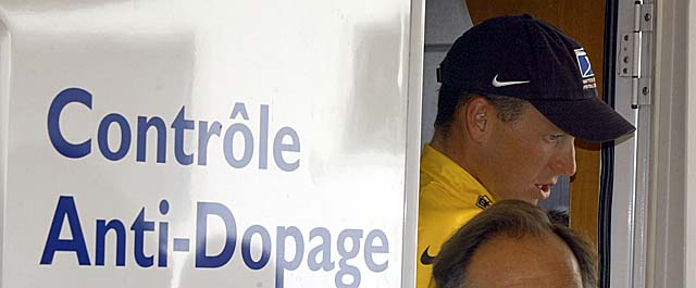 Pictured here in the 2002 Tour de France, Armstrong says he's innocent of doping charges. (AP)
