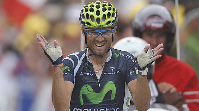 Valverde claims The 89-mile ride from Bagneres-de-Luchon to the ski station of Peyragudes. (AP)