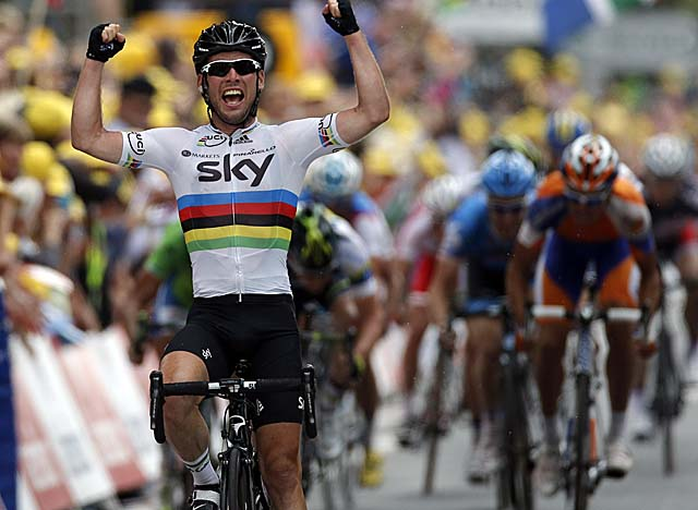 With Stage 18 in the bag, Cavendish ties Lance Armstrong with 22 total Tour stage wins. (AP)