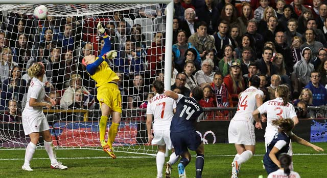 Alex Morgan (far right) beats Canada goalie Erin McLeod on a header in the waning seconds of extra time. (AP)