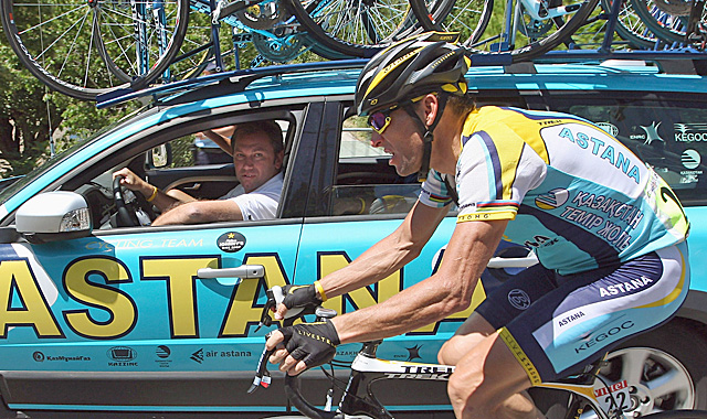 Bruyneel (left) is facing his own legal battle with USADA. (Getty Images)