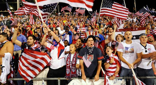 Fans show their colors for men's soccer on the 11th anniversary of the Sept. 11 attacks. (Getty Images)