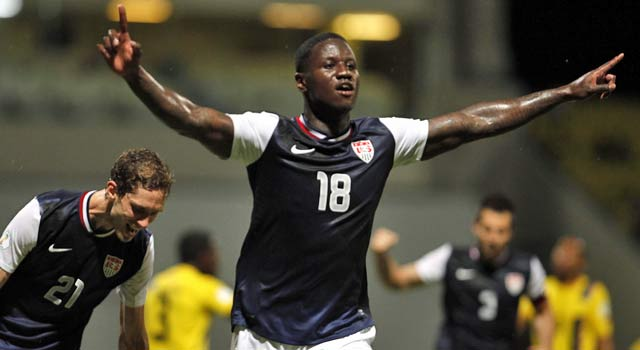 Eddie Johnson stars in his first game for the national team since 2010. (AP)
