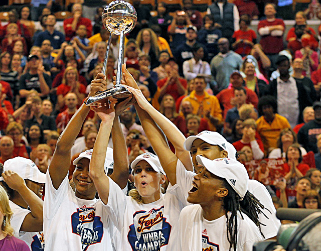Tamika Catchings (left) and guard Katie Douglas hold up the WNBA Championship Trophy. (US Presswire)