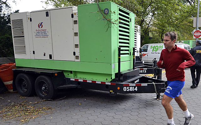 Generators wait in Central Park for Sunday's running of the New York City Marathon. (Getty Images)