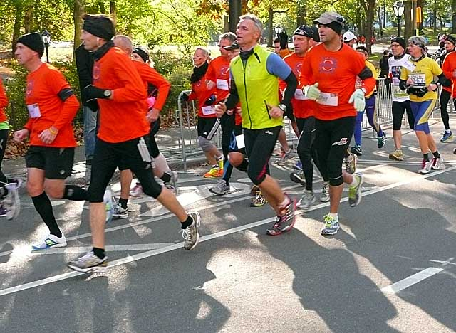 Runners race an alternative marathon Sunday in Central Park after the New York race was canceled. (AP)