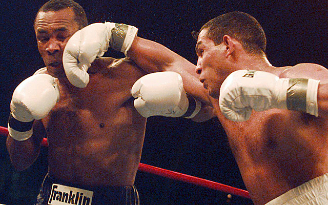 Camacho, here in 1997 connecting with Sugar Ray Leonard's jaw, was declared dead Saturday. (AP)