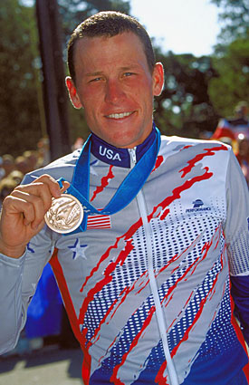 Lance Armstrong won his only Olympic medal at the Sydney Games in 2000, taking bronze in the road time trial. (Getty Images)