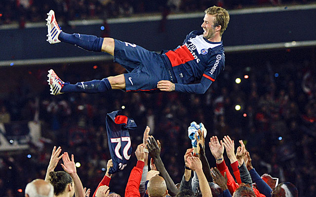 David Beckham is given a big sendoff by teammates and fans in Paris. (Getty Images)