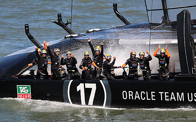 Members of Oracle Team USA celebrate their victory in the America's Cup races off San Francisco. (USATSI)