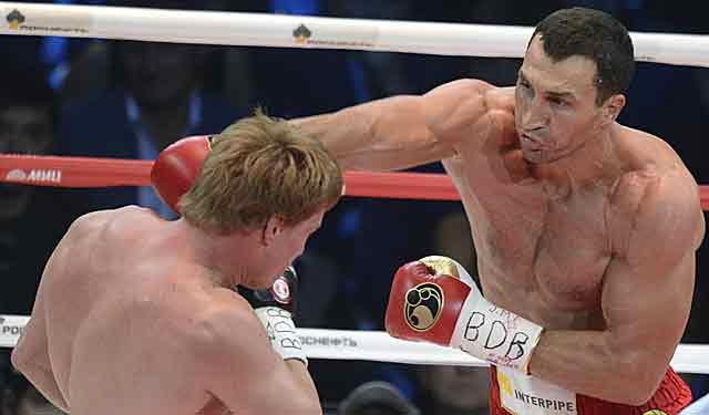 Vladimir Klitschko connects during his win over Alexander Povetkin. (Getty Images)