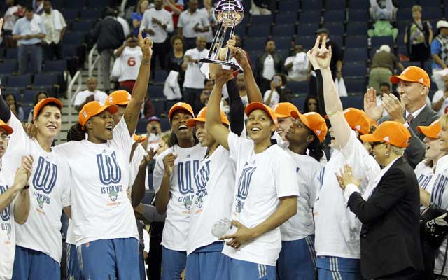 The Minnesota Lynx celebrate their second championship in three seasons. (USATSI)