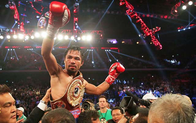 Manny Pacquiao dedicates his victory to his home country of the Philippines. (Getty Images)