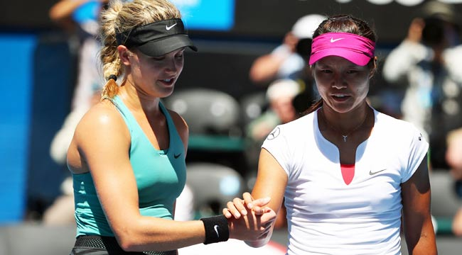 Li Na (right) ends 19-year-old Canadian Eugenie Bouchard's surprising run in Australia.