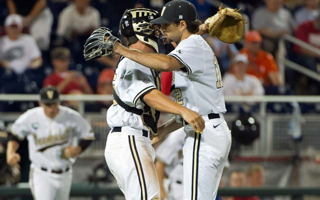 Vandy's Adam Ravenelle completes 2 1/3 innings of shutout relief for his first save. (Getty Images)