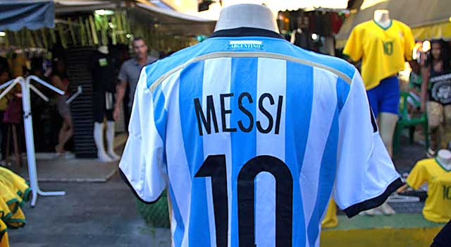Lionel Messi's No. 10 jersey on sale alongside Neymar Jr.'s in Rio de Janeiro. (Sarah M. Kazadi photo)
