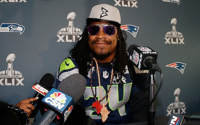 Marshawn Lynch adds another catchphrase to his repertoire.  (Getty Images)