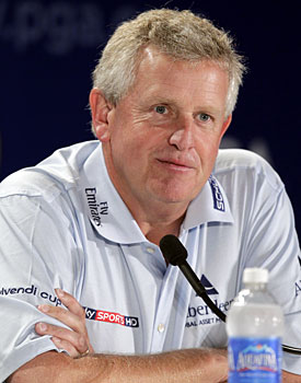 Instead of talking about the Ryder Cup, Colin Montgomerie has to sidestep some salacious questions. (AP)
