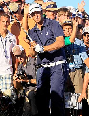 Dustin Johnson's penalty on 18 comes from not reading the rules. (Getty Images)