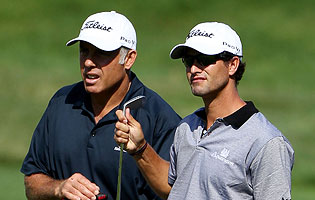 Tiger Woods' caddie, Steve Williams, will be on the bag for Adam Scott in D.C. (Getty Images)