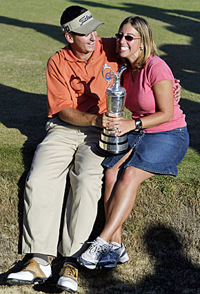 A day after his bold statement over dinner, Ben Curtis celebrates winning the 2003 British Open with fiancee Candace. (Getty Images)