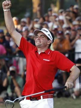 Keegan Bradley's reaction to winning is almost subdued when you consider the fantastic circumstances of the PGA's final round. (AP)