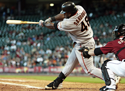 Pablo Sandoval swings through a tie-breaking, two-run shot in the 11th to give the Giants a much-needed victory.   (AP)