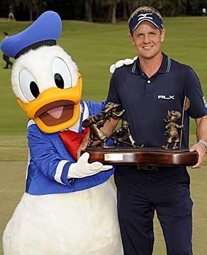 Luke Donald was joined by perhaps a more famous Donald after winning the PGA Tour's season finale at Disney. (Getty Images)
