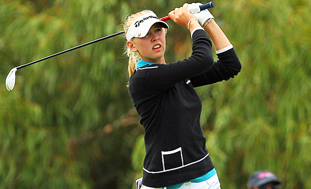Jessica Korda follows through on a shot during the final round of the Women's Australian Open. (Getty Images)