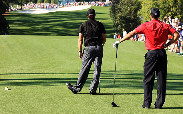 Knowing their way around the course gives Phil and Tiger a leg up at Augusta. (Getty Images)