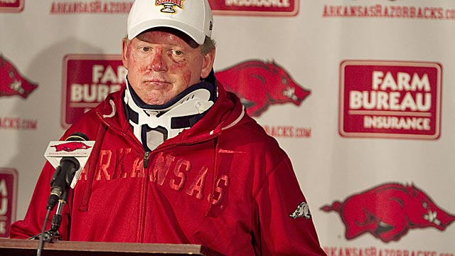Petrino's on-field success makes it hard for Arkansas to fire him for his moral failings. (AP)