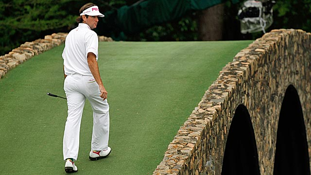 Bubba Watson dealt with every challenge in front of him on a tense Masters Sunday. (Getty Images)