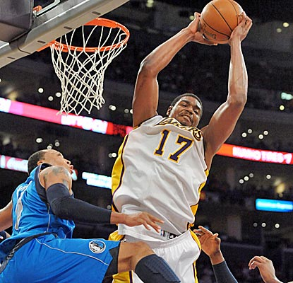 Andrew Bynum has a huge game, scoring 23 points in addition to his 16 rebounds as the Lakers get a big win.  (US Presswire)