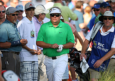 Pettersson may not put in the workouts some golfers do, but he can still draw a crowd. (Getty Images)